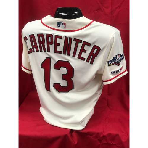 Photo of Matt Carpenter Team Issued 2019 Postseason Home Alternate Autographed Jersey (Size 44)