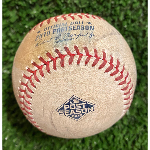 Photo of 2019 NLDS Game Used Baseball - Darren O'Day pitched to Yadier Molina, Foul - 10/9/19