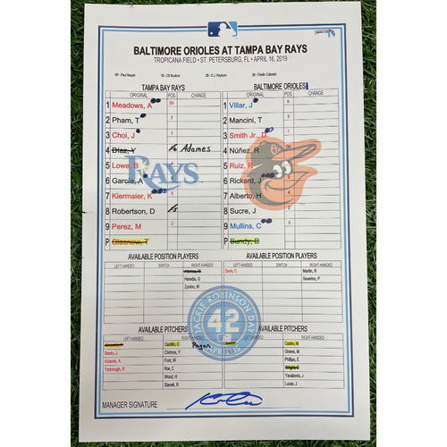 Photo of Game Used Jackie Robinson Day Lineup Card: Tyler Glasnow (W, 7.0IP, 3 SO) - Avisail Garcia (2) Home Run - April 16, 2019 v BAL