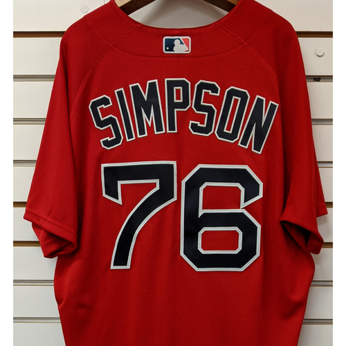Photo of Caleb Simpson #76 Team Issued Nike Red Spring Training Jersey