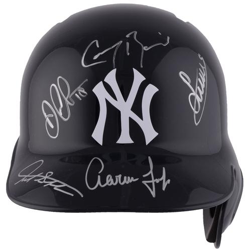 Aaron Judge, Giancarlo Stanton, Didi Gregorius, Luis Severino and Greg Bird New York Yankees Autographed Replica Batting Helmet