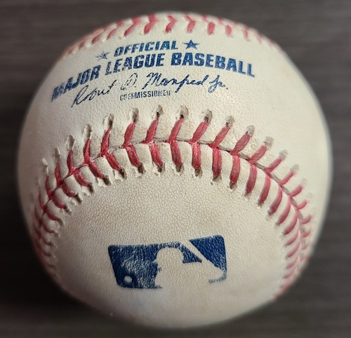 Photo of Authenticated Game Used Baseball: Double by Reese McGuire against Lance Lynn (Aug 23, 2021 vs CWS). Bottom 6.