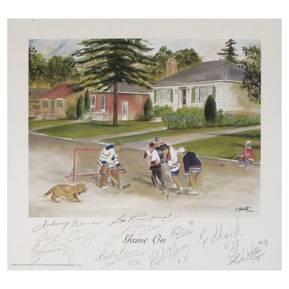 Toronto Maple Leafs Multi-Signed GAME ON Lithograph - Signed Johnny Bower, Borje Salming, Red Kelly & More