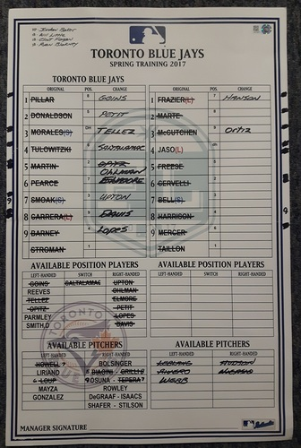 Photo of Authenticated Game Used Line-Up Card: March 31, 2017: Spring Training Exhibition Game in Montreal. 11 inches by 17 inches.