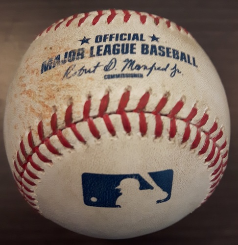 Photo of Authenticated Game Used Baseball - June 9, 2015: Mark Buehrle strikeout against Marcell Ozuna (Top 1)