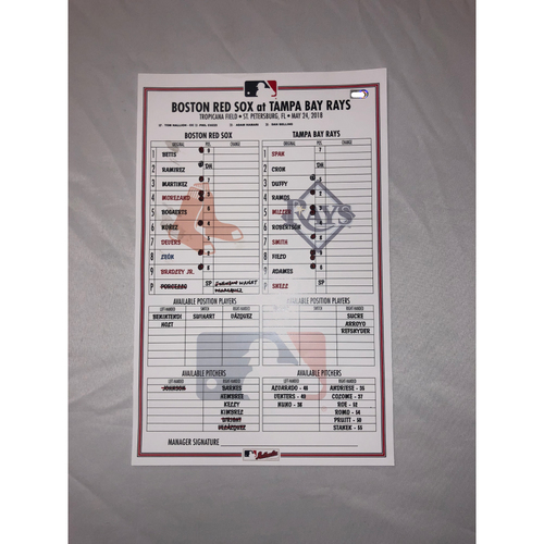 Photo of Red Sox vs Rays May 24, 2018 Game-Used Lineup Card - Rays Win 6 to 3