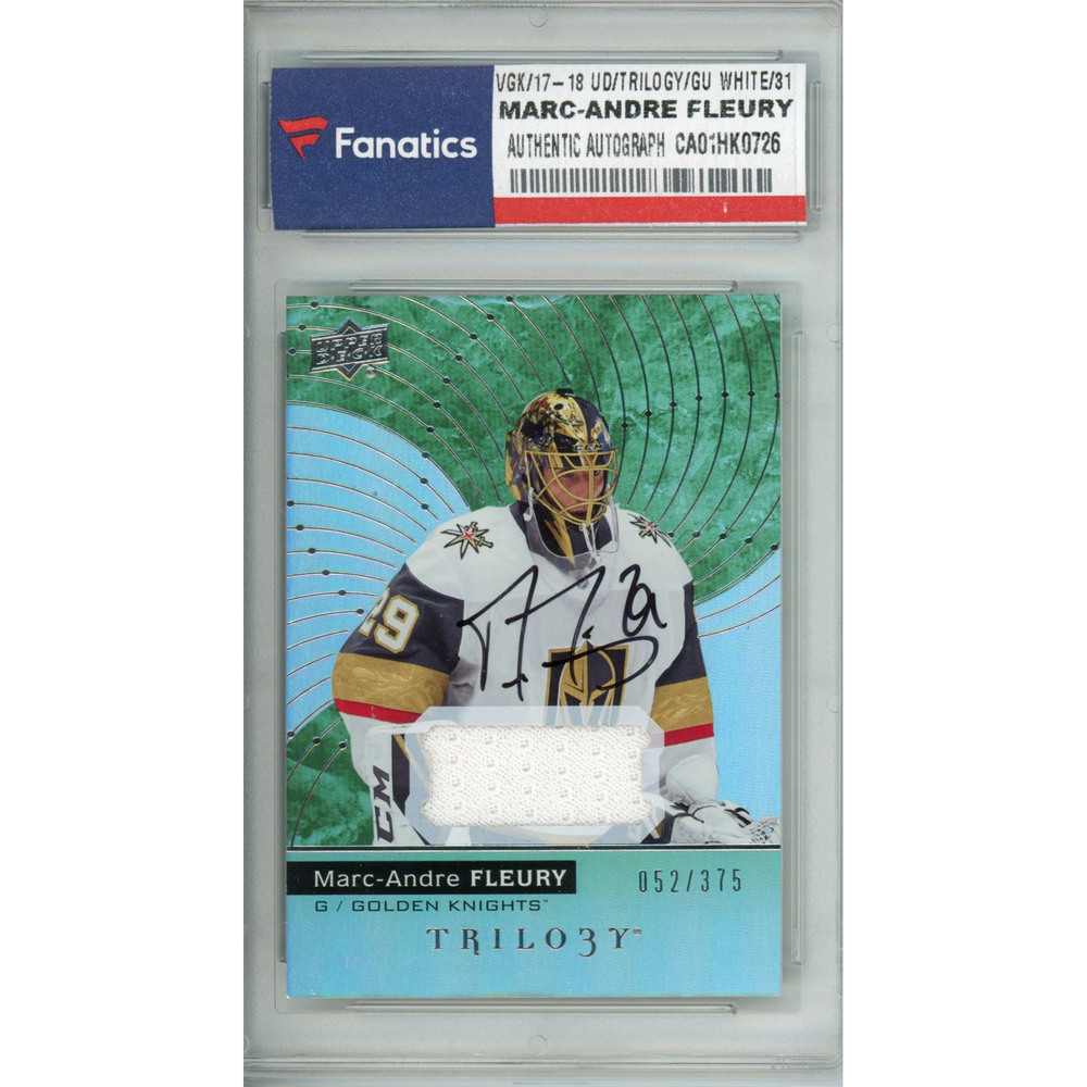 Marc-Andre Fleury Vegas Golden Knights Autographed 2017-18 Upper Deck  Trilogy Game Used  31 White Card Containing a Piece of Game Used Material -  L. E. of ... a83a82e1f