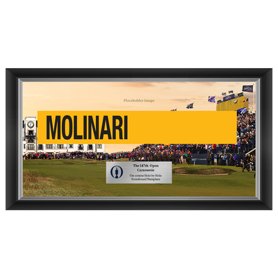 Photo of Francesco Molinari, The 147th Open Carnoustie Hole by Hole Scoreboard Nameplate Framed