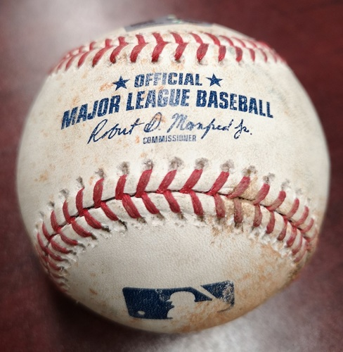 Photo of Authenticated Game Used Baseball - Single by Mookie Betts. Betts Hit for the Cycle in the Game. (Aug 9, 2018 vs Ryan Borucki: Top 1). 1st MLB Cycle of 2018 Season.