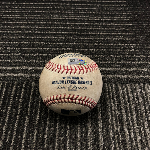 Photo of 2017 San Francisco Giants - Game-Used Baseball - Joe Panik Double off Jordan Lyles - 9/29/17