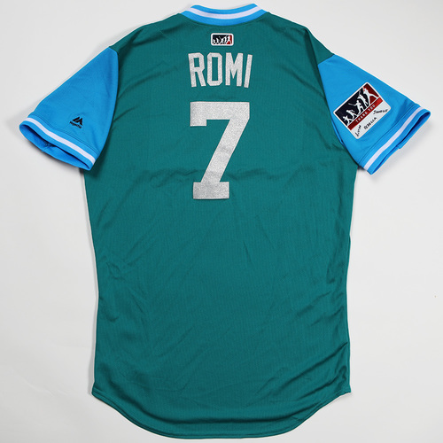 "Photo of Andrew ""Romi"" Romine Seattle Mariners Game-Used Players' Weekend Jersey"
