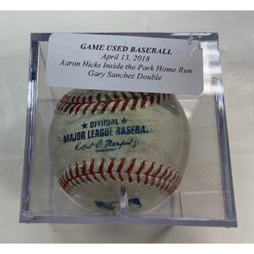 Photo of Game-Used Baseball: Aaron Hicks Inside the Park Home Run & Gary Sanchez Double