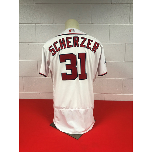Photo of Max Scherzer Game-Used Washington Nationals 2018 White Jersey with Stars and Stripes W and All-Star Game Patch