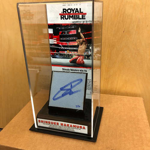 Photo of Shinsuke Nakamura SIGNED & USED Royal Rumble 2018 Ring Canvas & Photo Display Box
