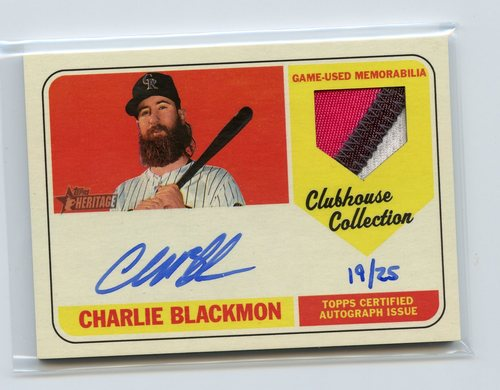 Photo of 2018 Topps Heritage Clubhouse Collection Autograph Relics #CCARCB Charlie Blackmon 19/25