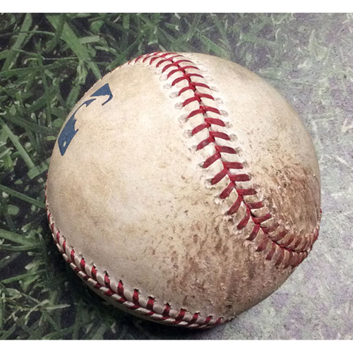Photo of Game Used Baseball 04/03/18 STL@MIL - Jack Flaherty - Orlando Arcia/Chase Anderson: Strikeout/Strikeout