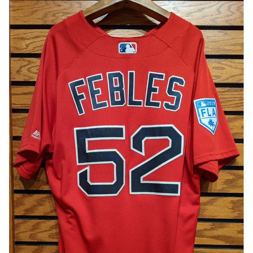 Photo of Coach Carlos Febles #52 2019 Spring Training Red Team Issued Jersey