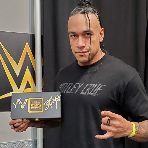 Photo of Damian Priest SIGNED NXT Championship Replica Side Plate Box Set