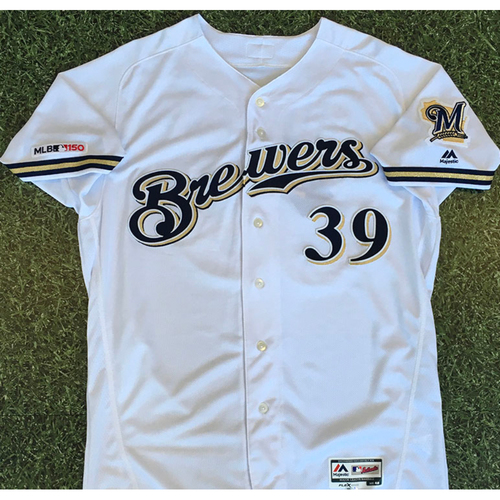 Photo of Corbin Burnes 2019 Team-Issued Home White Jersey