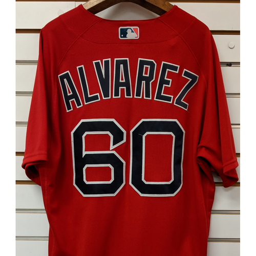 Photo of R.J. Alvarez #60 Team Issued Nike Red Spring Training Jersey