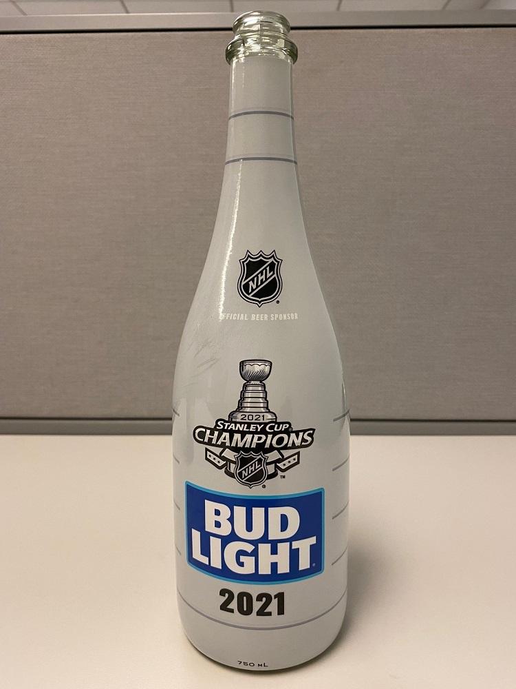 Tampa Bay Lightning 2021 Stanley Cup Champions Celebration Locker Room - Used Empty Bud Light Bottle