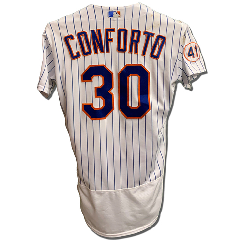Photo of Michael Conforto #30 - Game Used White Pinstripe Jersey with Seaver Patch - Pinch Hit 3-Run Home Run (9) - Mets vs. Nationals - 8/28/21