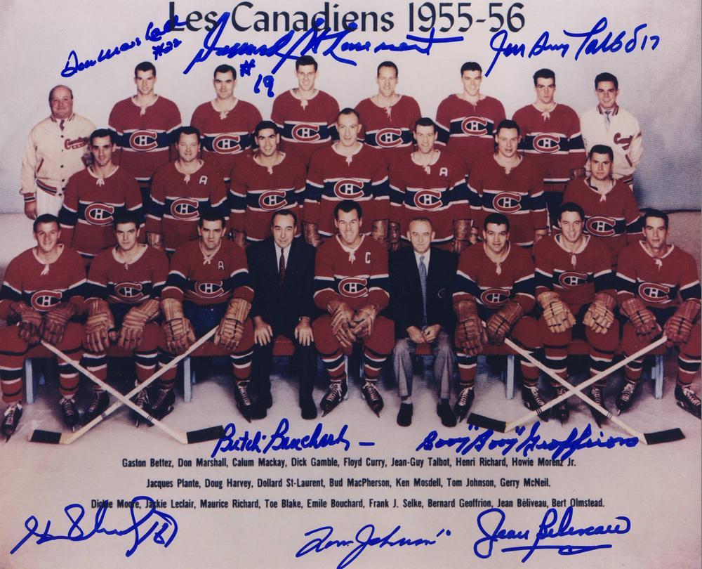 1955-56 Montreal Canadiens MULTI-SIGNED 8x10 Team Photo *8 AUTOGRAPHS**GEOFFRION,H.RICHARD,ETC*