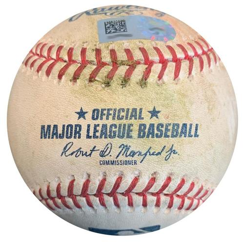 Photo of Game-Used Baseball from Pirates vs. Reds on 4/7/18 - Romano K, Winker Walk, Suarez Double