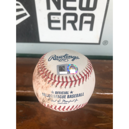 Photo of Cardinals Authentics: Game Used Ball Pitched by Mike Mayers to Lorenzo Cain and Christian Yelich *Single (Cain), Ball in Dirt (Yelich)*