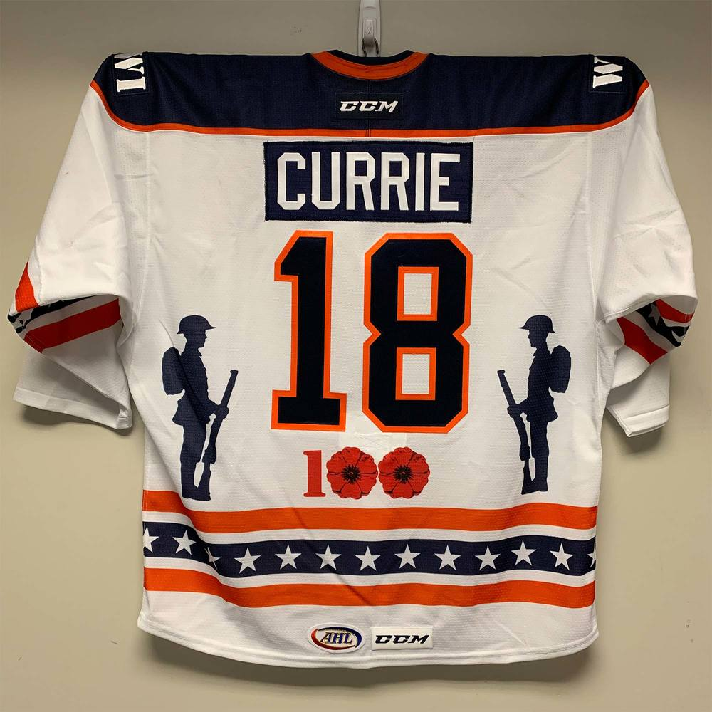 Bakersfield Condors Patriotic Night Jersey Worn by #18 Josh Currie