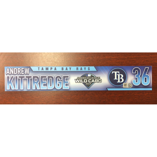 Photo of Game Used A.L. Wild Card Locker Tag: Andrew Kittredge - First Career Post Season Game
