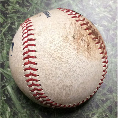 Photo of Game-Used Baseball CLE@MIL 05/09/18 - Carlos Carrasco - Lorenzo Cain: Double