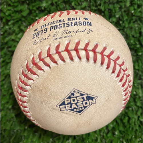 Photo of 2019 NLDS Game Used Baseball - Max Fried strikeout of Jack Flaherty, Dexter Fowler, Foul - 10/9/19