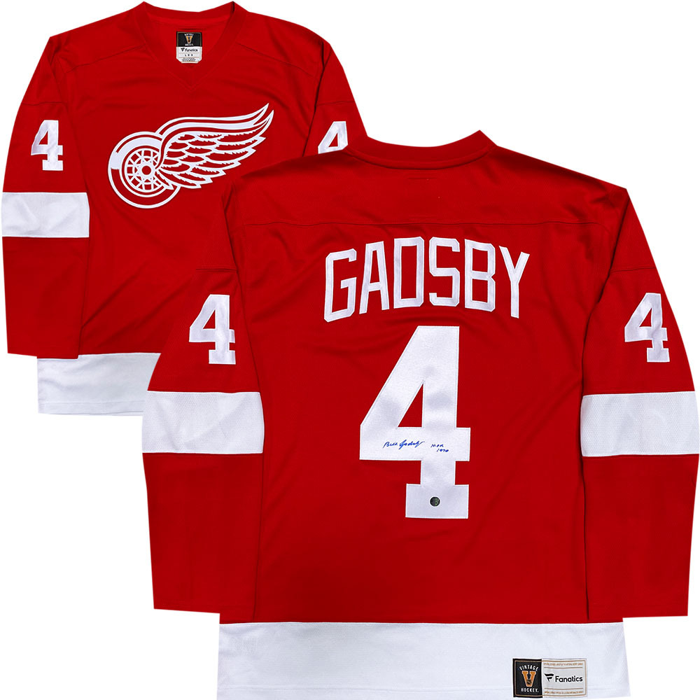 Bill Gadsby Autographed Detroit Red Wings Fanatics Heritage Jersey w/HOF 1990