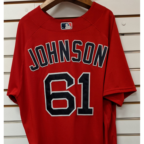 Photo of Brian Johnson #61 Team Issued Nike Red Spring Training Jersey