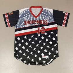 Photo of Patriotic Game Worn Autographed Jersey #12 Size 46 Connor Norby