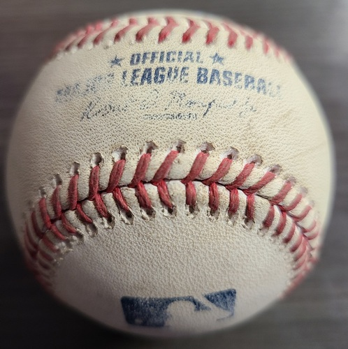 Photo of Authenticated Game Used Baseball: Strikeout by Tim Mayza against Yoan Moncada (Aug 23, 2021 vs CWS). Top 8.