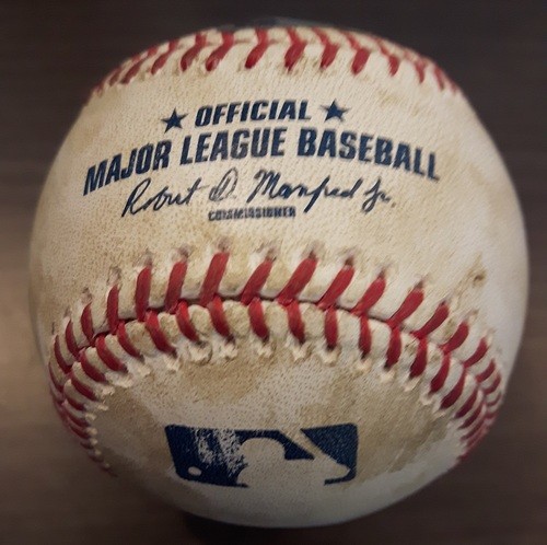Photo of Authenticated Game Used Baseball - August 31, 2015: Double by Jason Kipnis against David Price (Top 1)