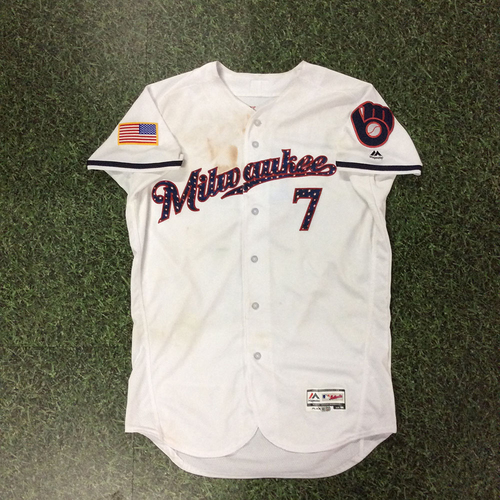 Photo of Eric Thames Game-Used 2018 Stars & Stripes Jersey - 2-Run HR (7/3/18)