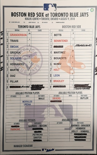 Photo of Authenticated Game Used Lineup Card - August 9, 2018 vs Red Sox. Mookie Betts Hit for the Cycle. 1st MLB Cycle of 2018 Season.