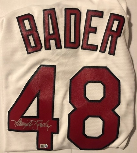 Photo of Harrison Bader Autographed Cardinals White Replica Jersey