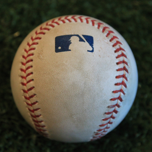 Photo of Game-Used Baseball: Alex Gordon 118th Career Hit By Pitch (9/24/19 - ATL @ KC)