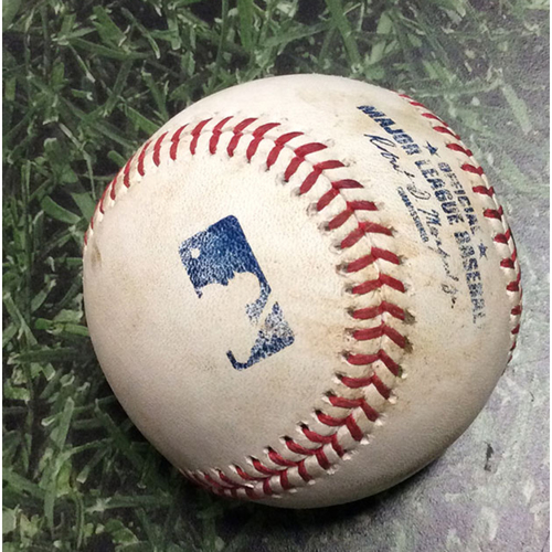 Photo of Game-Used Baseball CHC@MIL 09/05/19 - Jimmy Nelson - Willson Contreras: Double