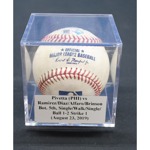 Photo of Game-Used Baseball: Nick Pivetta (PHI) vs Harold Ramirez/Isan Diaz/Jorge Alfaro/Lewis Brinson, Bot. 5th, Single/Walk/Single/Ball - August 23, 2019