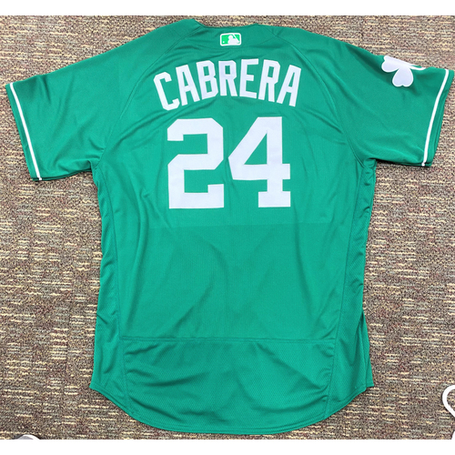 Photo of Miguel Cabrera #24 Detroit Tigers Game-Used 2019 St. Patrick's Day Jersey (MLB AUTHENTICATED)