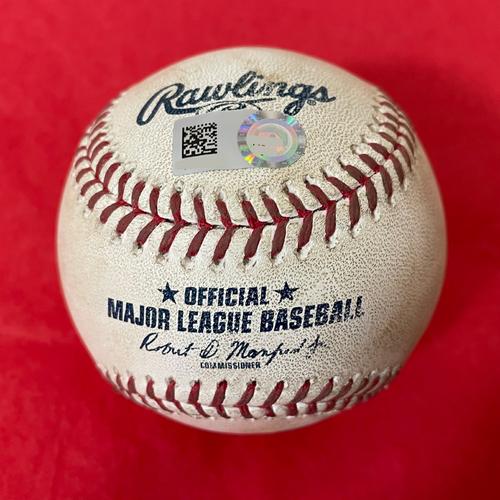 Photo of Game-Used Baseball - Manny Machado Single vs. Madison Bumgarner - Padres @ D-backs 8/13/2021