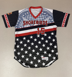 Photo of Patriotic Game Worn Autographed Jersey #15 Size 44 Coby Mayo