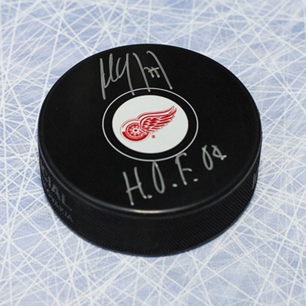 Paul Coffey Detroit Red Wings Autographed Hockey Puck with HOF Inscription