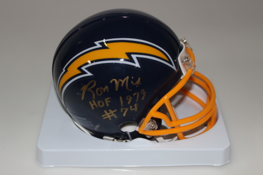 HOF - CHARGERS RON MIX SIGNED CHARGERS MINI HELMET