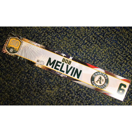 Photo of Oakland Athletics Bob Melvin Team-Issued 4th of July 2018 Locker Nameplate